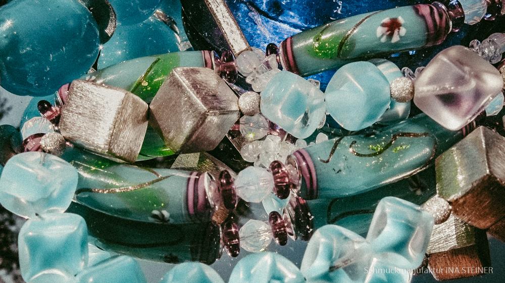 Halskette aus Edelstein Glas Natur Ina Steiner Schmuckmanufaktur aus Karlsruhe